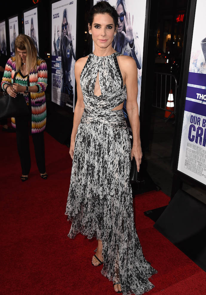 Sandra Bullock Dons Chiffon Number To 'Our Brand Is Crisis' Premiere
