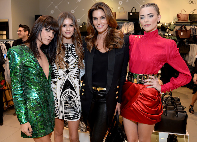 Selma Blair And Jaimie King Pose With Cindy Crawford And Her Daughter At Balmain x H&M Pre-Launch