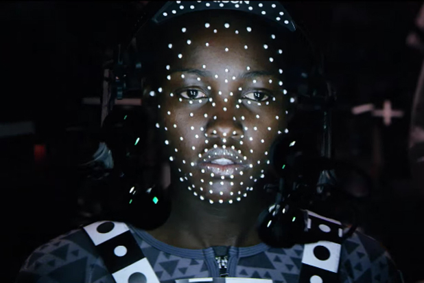 Nyong'o in motion-capture technolgy suit Was Used To Create Maz Kanata