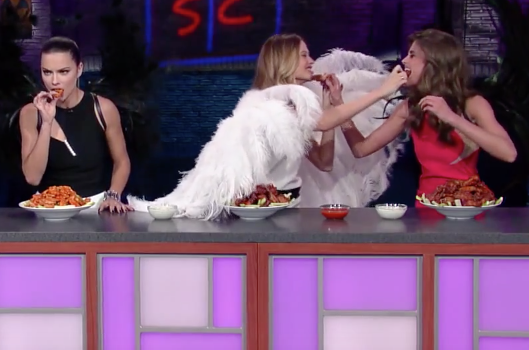 Stephen Colbert Forces Victoria's Secret Angels To Chow Down On Buffalo Wings