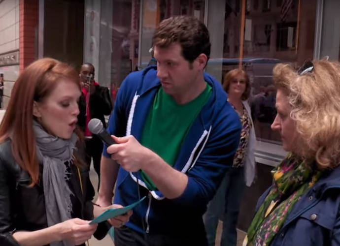 Julianne Moore Recreates Her Famous Movie Scenes In Times Square For 'Billy On The Street'