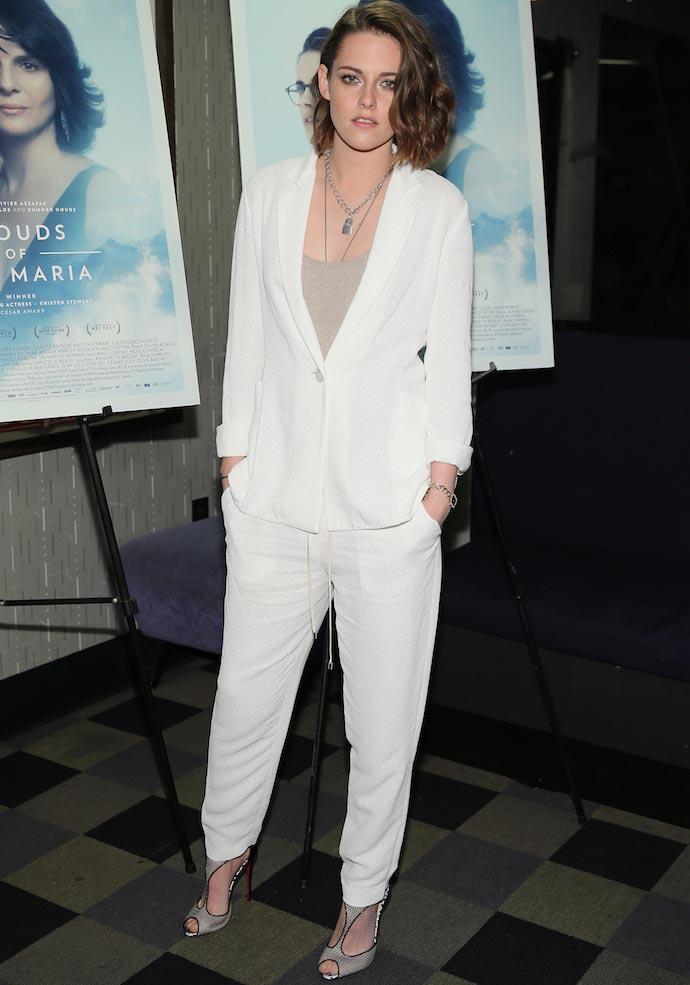 Kristen Stewart Wore Winter White Suit To 'Clouds Of Sils Maria' Screening