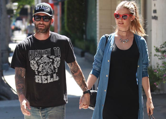 Adam Levine Shows Off Topless Picture Of Pregnant Wife Behati Prinsloo