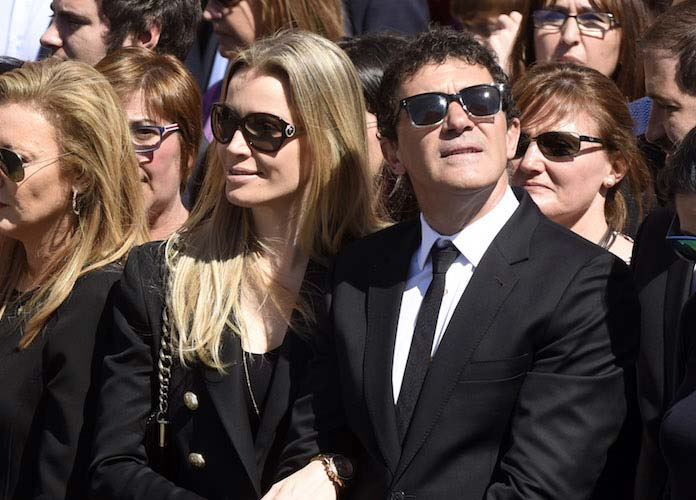 Antonio Banderas And Girlfriend Nicole Kimpel Attend Christ Of The Good Death Procession In Spain