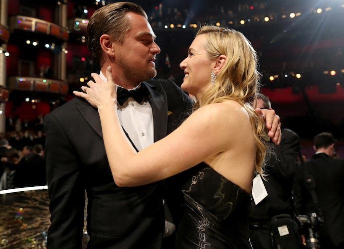 Kate Winslet Hugs Leonardo DiCaprio After His Oscar Win
