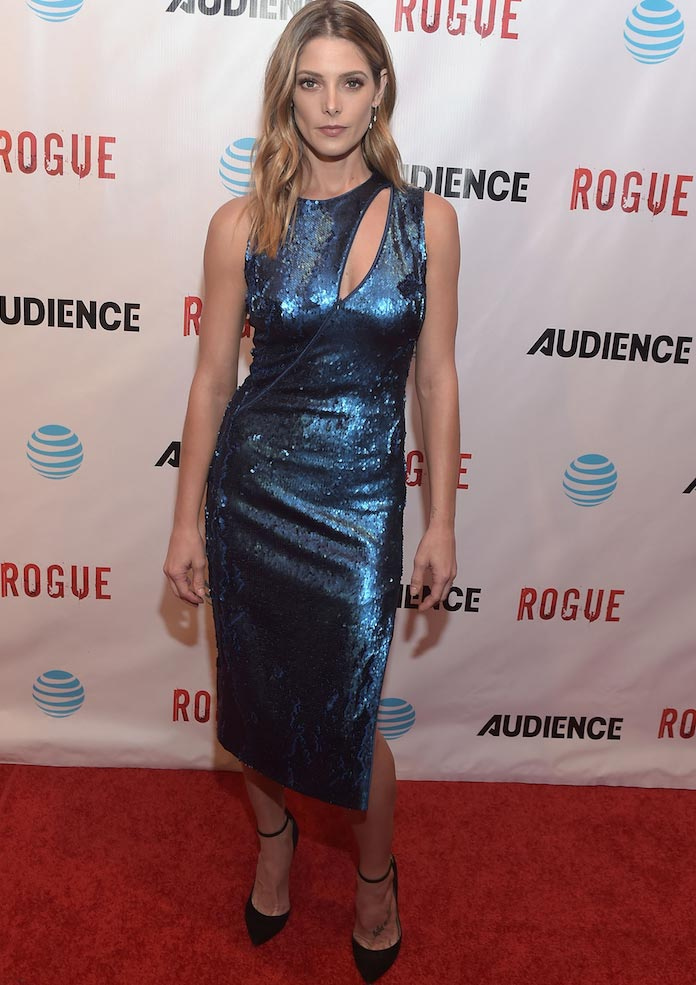 Ashley Greene Wore Blue Sequins To The 'Rogue' Premiere