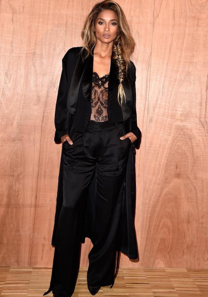 Ciara Rocks Suit And Sheer Top At Givenchy Paris Fashion Week Show
