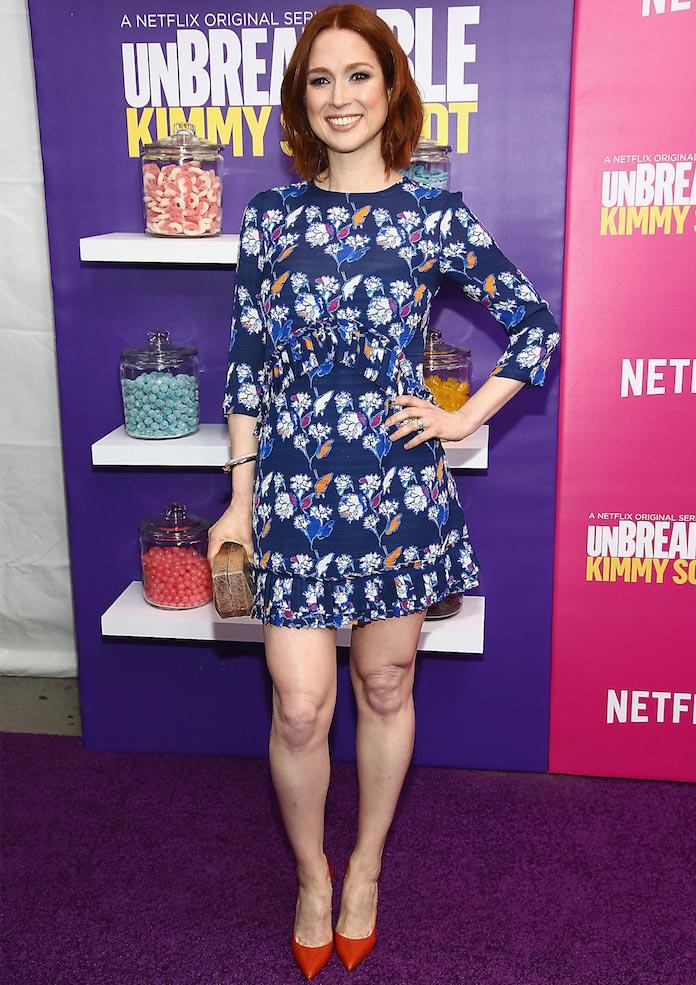 Ellie Kemper Dons Floral Print Dress For 'Unbreakable Kimmy Schmidt' Premiere