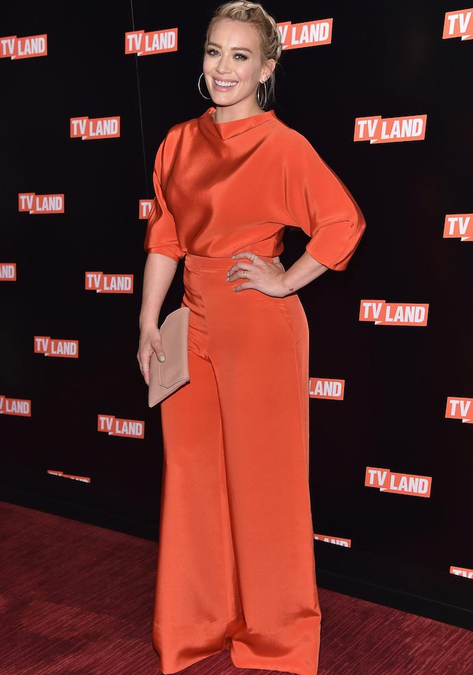 Hilary Duff Wears Red Jumpsuit To Viacom Event