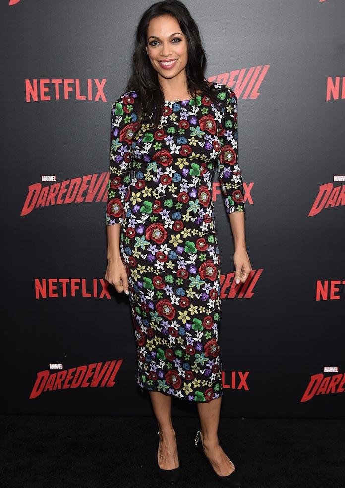 Rosario Dawson Chose Floral Dress For 'Daredevil' Premiere