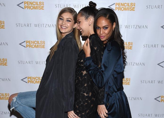 Gigi Hadid, Bella Hadid & Joan Smalls Attend Stuart Weitzman Event In NYC