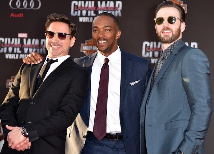 Robert Downey Jr., Anthony Mackie & Chris Evans Strike A Pose At 'Captain America: Civil War' Premiere