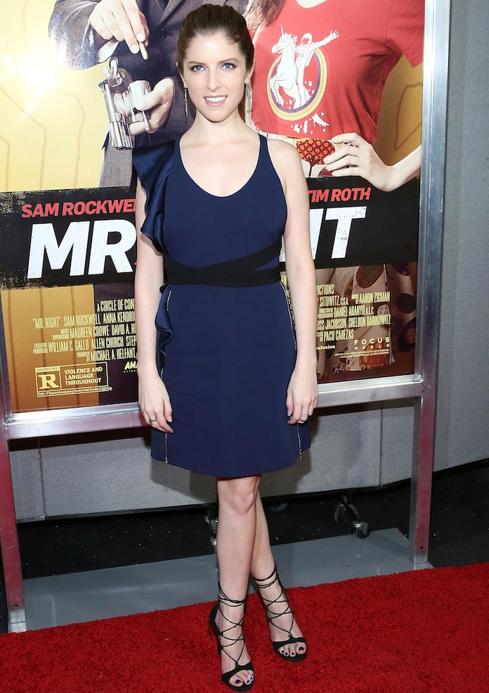 Anna Kendrick Sported Short Navy Number At 'Mr. Right' Premiere