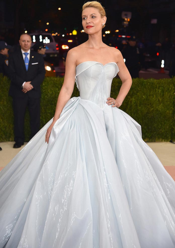 claire danes wows in fiber optic gown at met gala