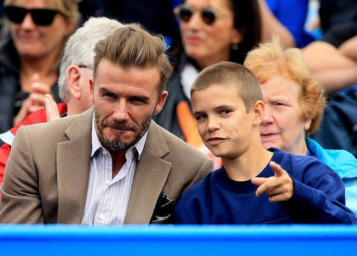 David Beckham Brings Son Romeo Beckham To Tennis Match