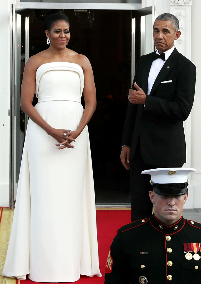 Michelle Obama Stuns in Strapless State Dinner Dress By Brandon Maxwell – Get The Look