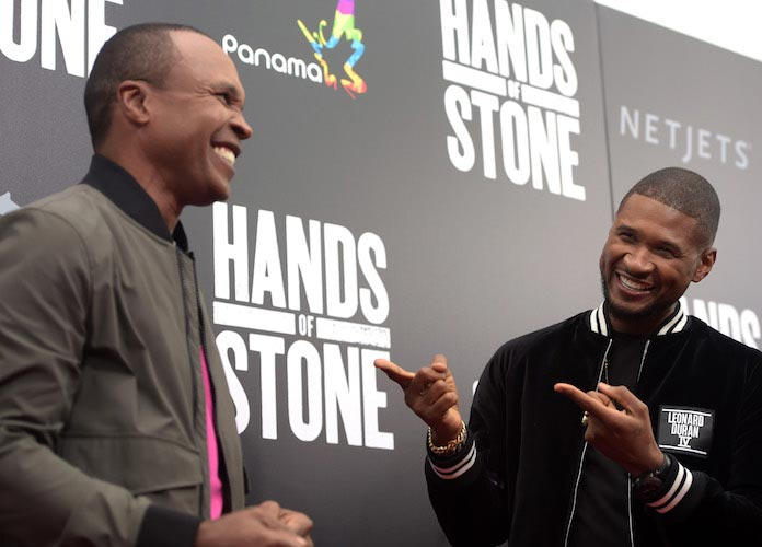 Usher Poses With Boxing Legend Sugar Ray Leonard At 'Hands Of Stone' Premiere