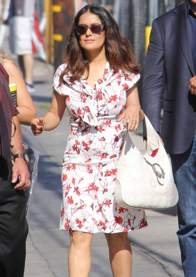 Salma Hayek Shows Off Toned Calves In Floral Dress