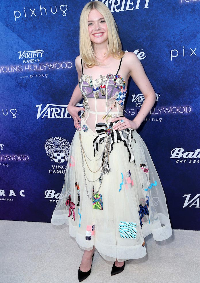 Elle Fanning Goes Bold In Colorful Marc Jacobs Dress At Power Of Young Hollywood Bash