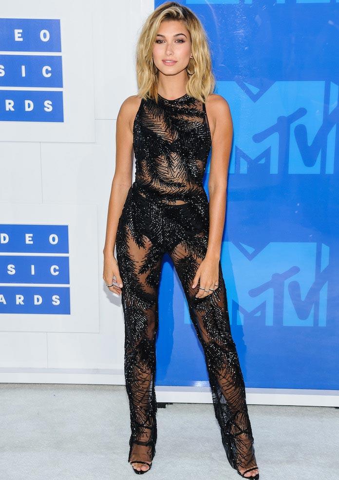 Hailey Baldwin Wears Georges Chakra Jumpsuit To MTV VMAs