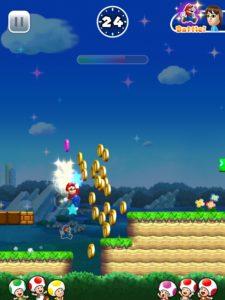 Mario and several Toads in Super Mario Run (iPad Pro)
