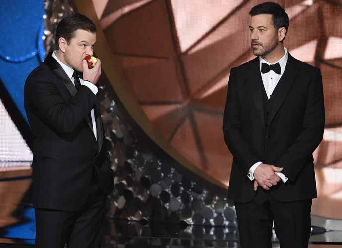 "Jimmy Kimmel & Matt Damon Wear ""I'm With Stupid"" T-Shirts To World Series Game 5 At Dodger Stadium"