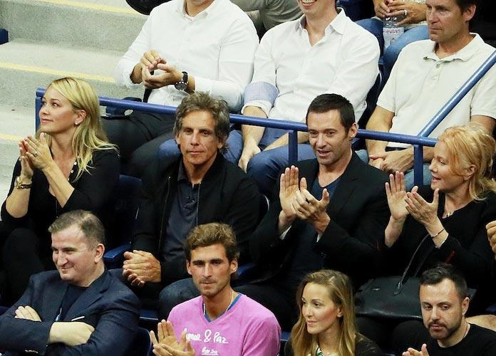 Hugh Jackman And Ben Stiller Attend US Open Quarterfinals