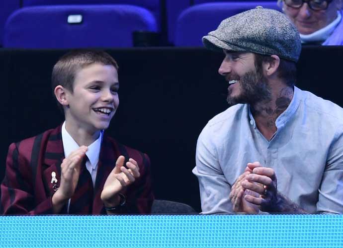 David Beckham And Son Romeo Enjoy Tennis At The ATP World Tour Finals