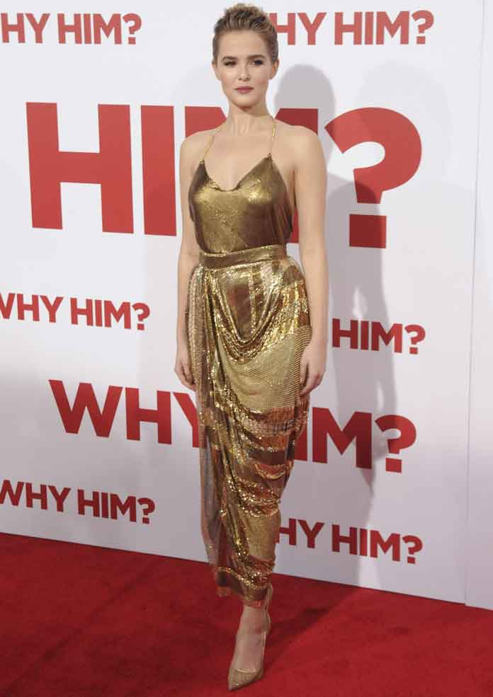 Zoey Deutch Shines In Gold Balmain Dress For 'Why Him?' Premiere
