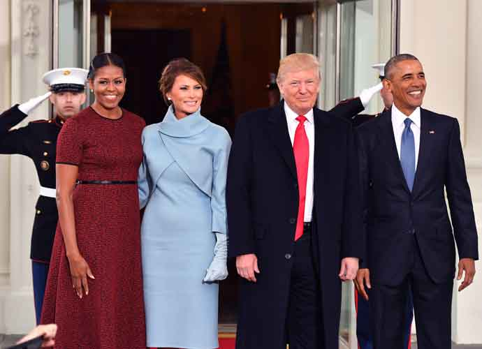 Michelle & Barack Obama Pose With Melania & Donald Trump Before Inauguration
