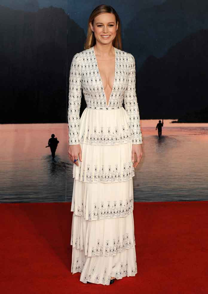 Brie Larson Wears Plunging Ralph & Russo Gown To 'Kong: Skull Island' Premiere