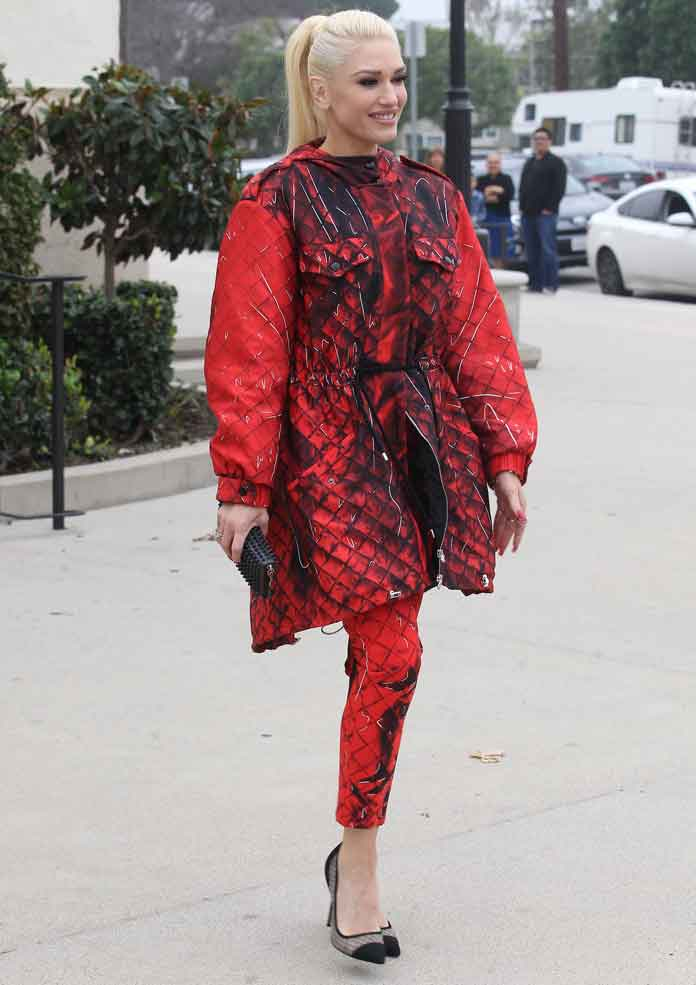 Get The Look: Gwen Stefani Stuns In Red Moschino On Way To Church With Family