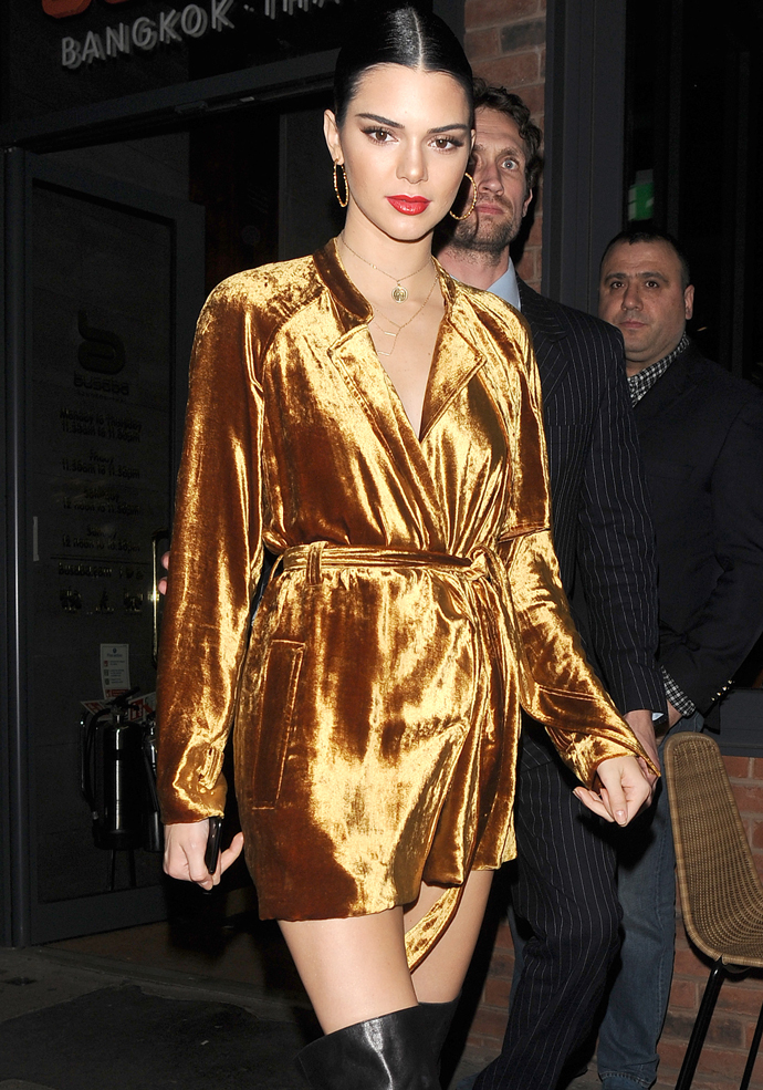Kendall Jenner Shines In Golden A.L.C. Trench Coat Dress