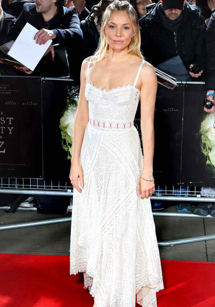 Sienna Miller Braves The Cold In Alexander McQueen At 'The Lost City Of Z' Premiere