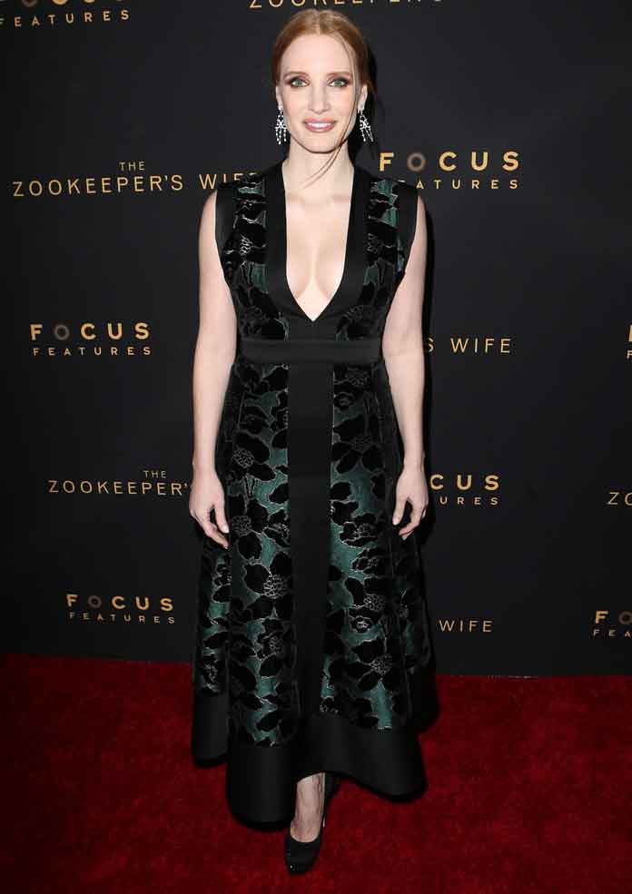 Jessica Chastain Attends Premiere Of 'The Zookeeper's Wife' In Alexander McQueen