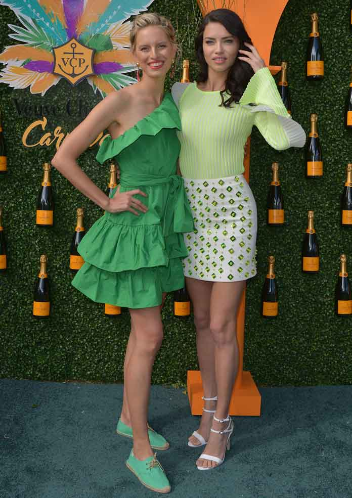 Adriana Lima & Karolina Kurkova Stun In Green At Veuve Clicquot Carnival