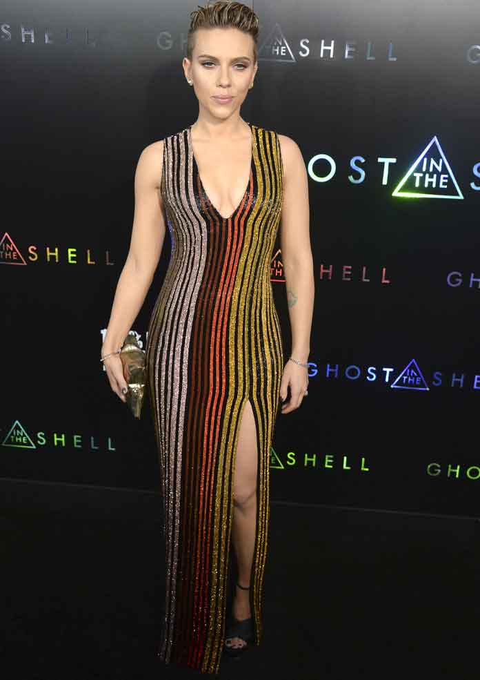 Scarlett Johansson Sparkles In Balmain At 'Ghost In The Shell' Premiere