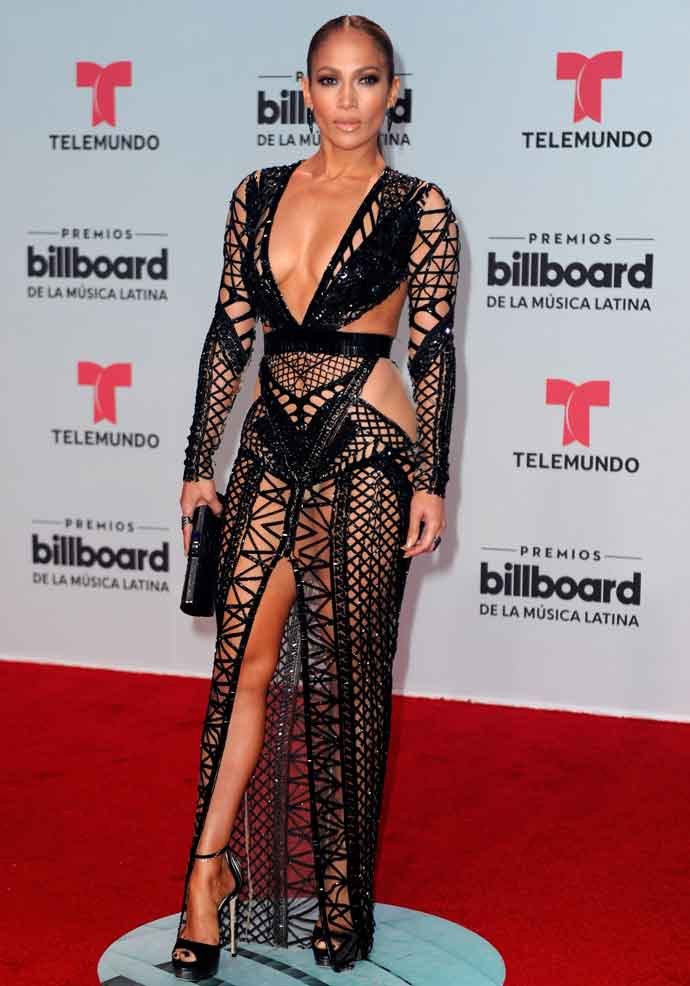 Jennifer Lopez Skips Underwear With Julien Macdonald Cutout Dress At Billboard Latin Music Awards