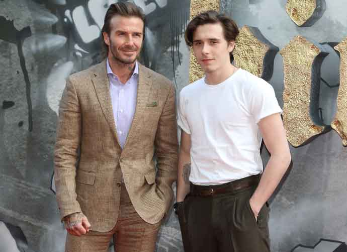 David Beckham & Son Brooklyn Beckham Attend 'King Arthur' London Premiere