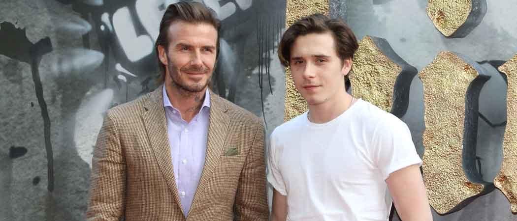 David Beckham & Son Brooklyn Beckham Attend 'King Arthur' London Premiere