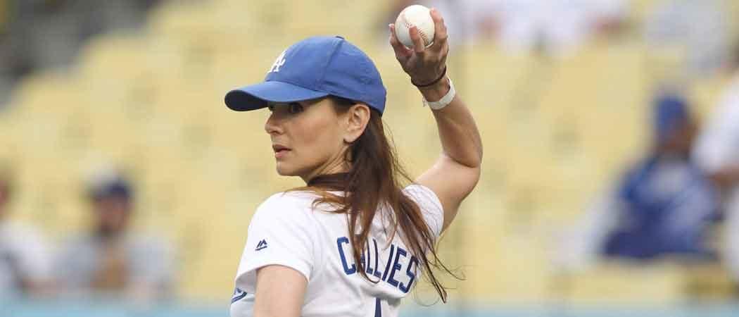 Sarah Wayne Callies Throws First Pitch At LA Dodgers Stadium