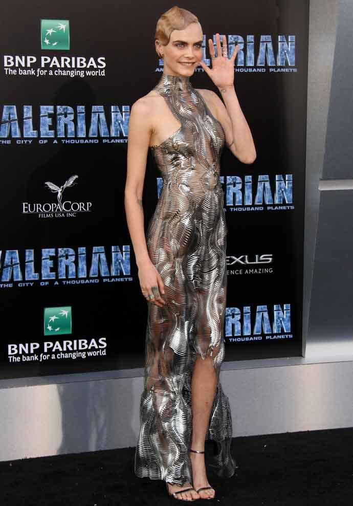 Cara Delevingne Wears Futuristic Iris Van Herpen Dress To 'Valerian' Premiere