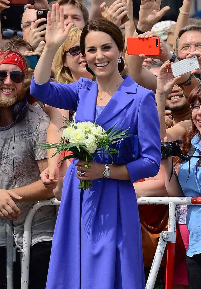 Kate Middleton Wears Blue Catherine Walker Coat-Dress In Germany