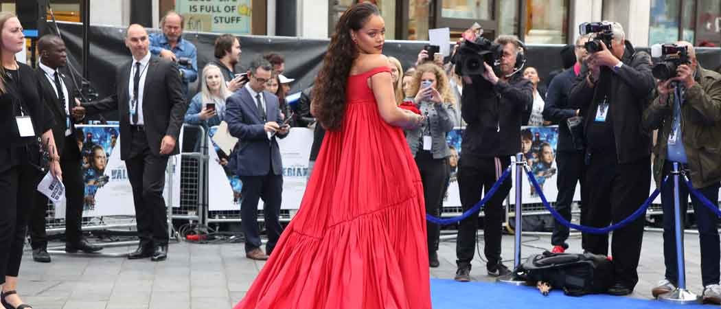 Rihanna Arrives At 'Valerian' Premiere In London In Red Gown