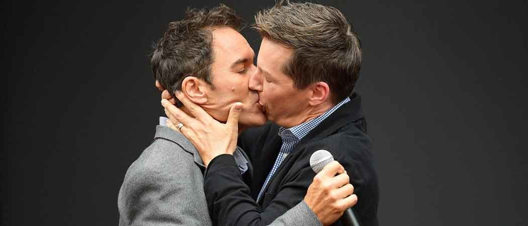 Sean Hayes Kisses Eric McCormack At 'Will & Grace' Ribbon Cutting Ceremony