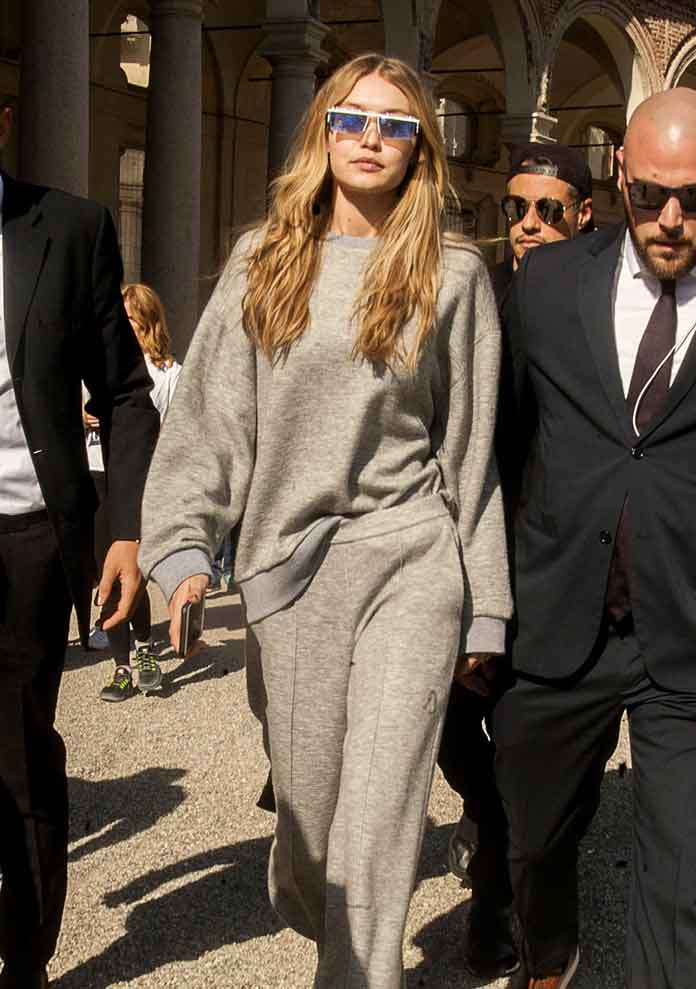 Gigi Hadid Spotted In Sweatsuit At Milan Fashion Week