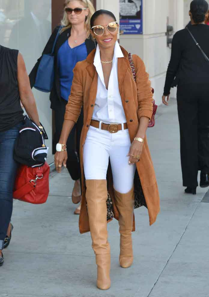 Jada Pinkett Smith Wears Stuart Weitzman Boots To Shoe Shop, After Denying Scientology Claim
