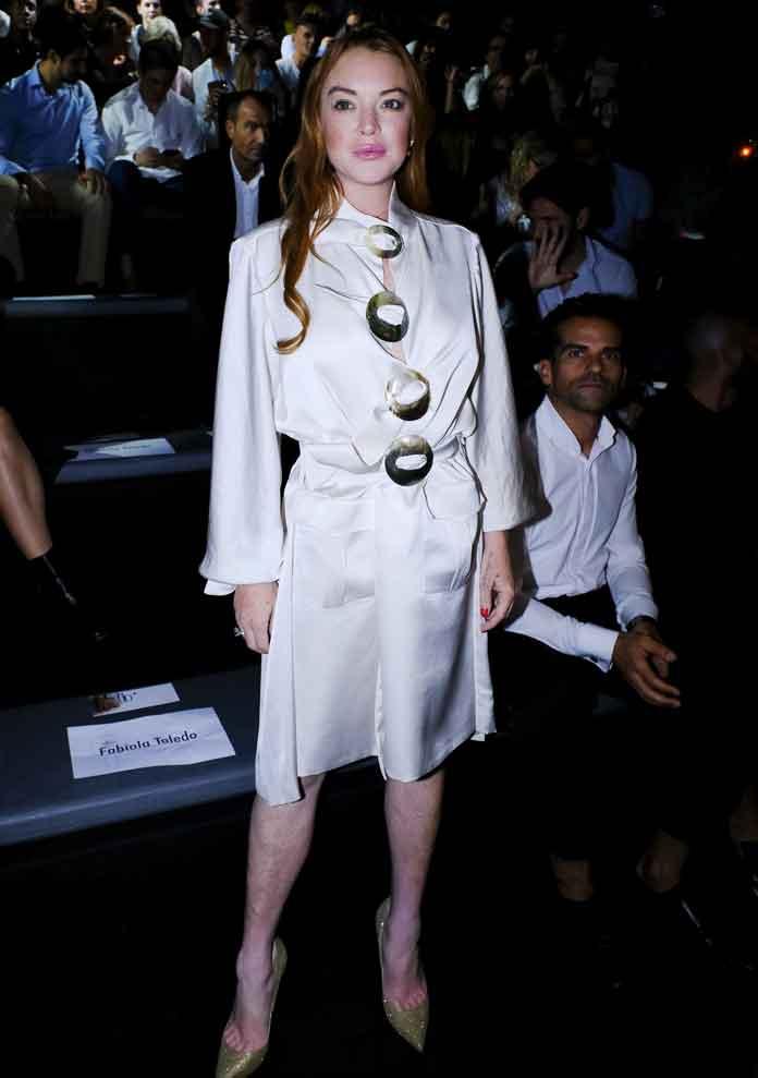 Lindsay Lohan In Dazzling Satin Gown At Madrid Fashion Week
