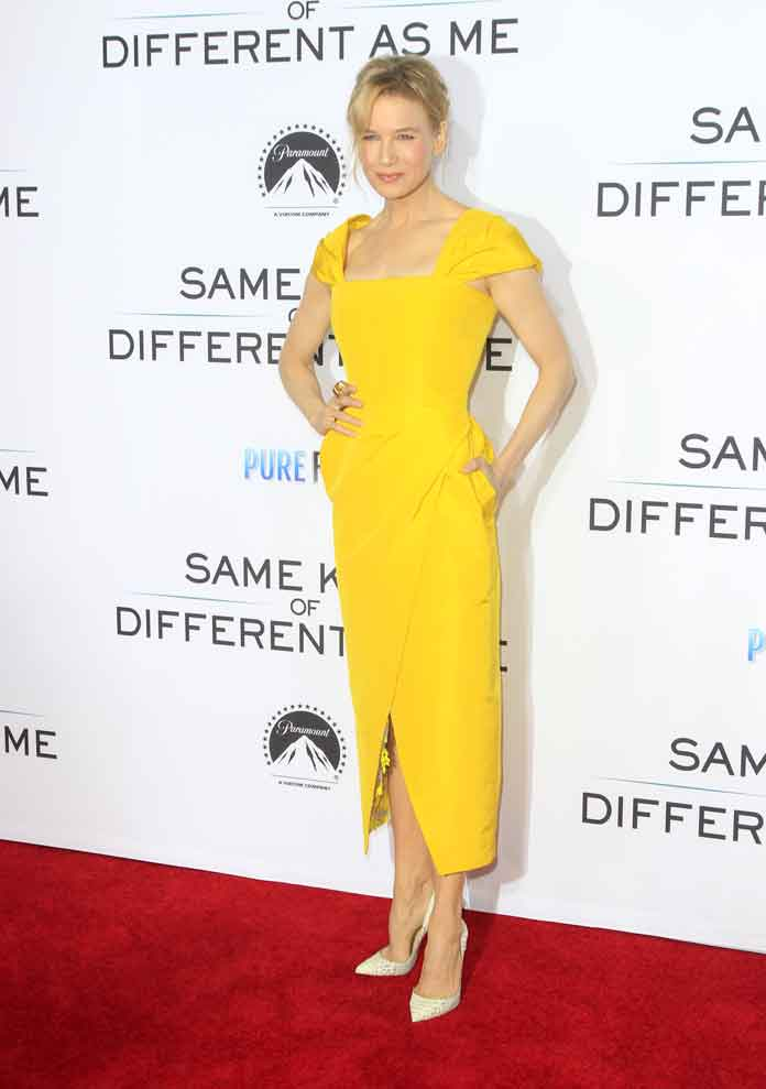 Renee Zellweger In Yellow Carolina Herrera Dress At 'Same Kind Of Different As Me' Premiere