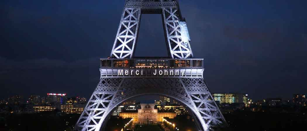 France Pays Tribute To Late Johnny Hallyday With 'Merci Johnny' Written On Eiffel Tower